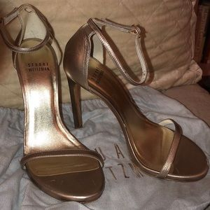 Stuart Weitzman leather gold nudist ankle strap 7
